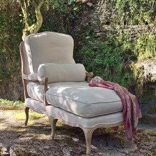 Butaca chaise longue en lino madera desgastada muebles belhome muebles en granada - Butaca chaise longue ...