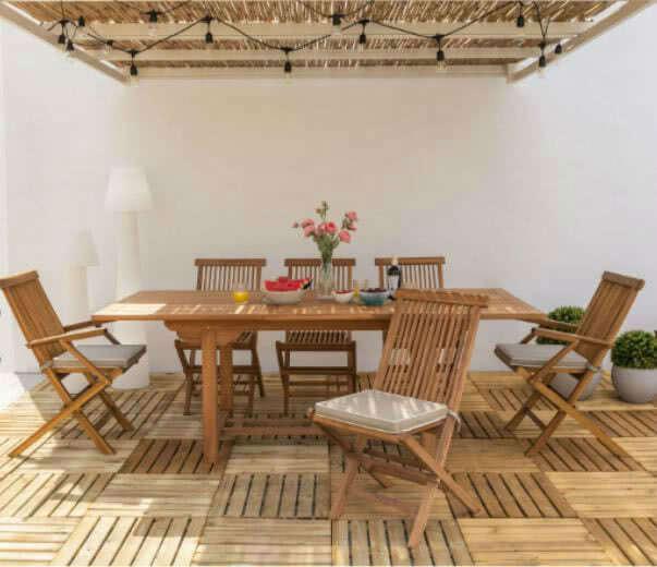 ambiente porche mesa sillas - Cómo decorar porches y terrazas - noticias, blog | Muebles en Granada
