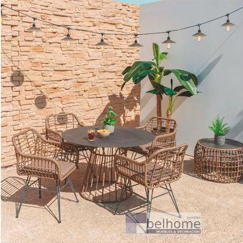 mesa comedor redonda ambiente - Cómo decorar porches y terrazas - noticias, blog | Muebles en Granada