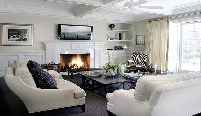 tresillo blanco salon chimenea - Decoración de salones modernos con chimenea - noticias, blog | Muebles en Granada