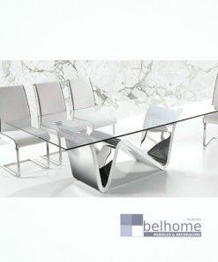 Mesa de comedor Rizzo cristal y acero inoxidable