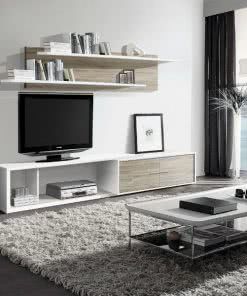 Apilable New PORTLAND Blanco Roble 247x296 - Composición comedor - muebles-tv | Muebles en Granada