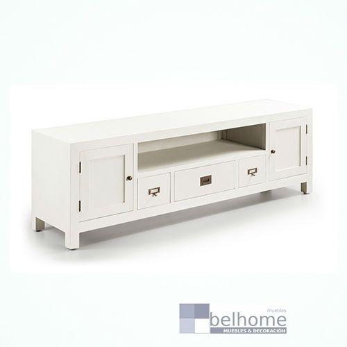 Mueble tv new white 3 cajones