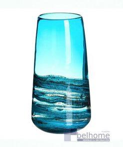 Jarrón azul cristal agua alto