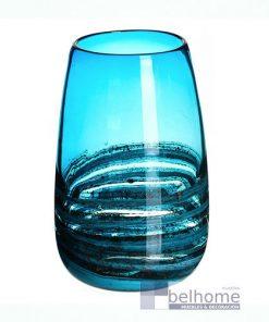 Jarrón azul cristal agua bajo