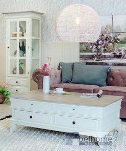Mesa de centro 4 cajones natural - crema