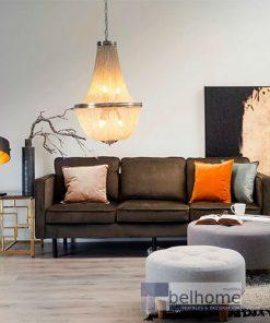Sofá tres plazas terciopelo gris oscuro fondo decorado 247x296 - Muebles en Granada -  | Muebles en Granada