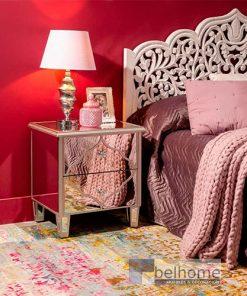 mesita de noche plata en habitación decorada  247x296 - Muebles en Granada -  | Muebles en Granada
