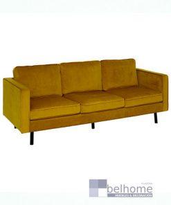 Sofá 3 plazas terciopelo amarillo