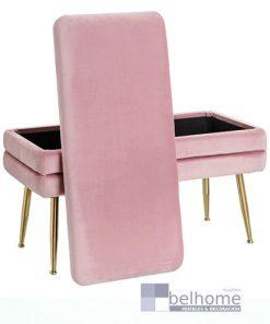 Banqueta-baúl rosa tejido/metal