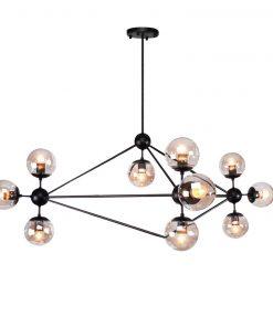 Lámpara MENCIA, colgante, metal negro, 10 luces