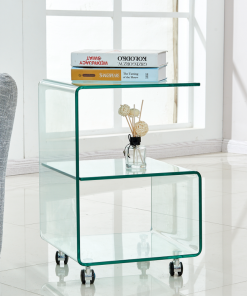Mesa ABIGAIL, ruedas, cristal transparente, 40 x 40 cms