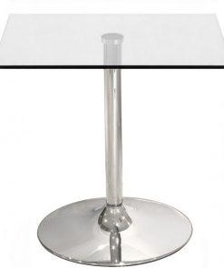 Mesa BERNIE NEW, cromada, cristal 80X80 cms