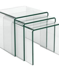 Mesa VULCANO NEW, nido – tres mesas – cristal