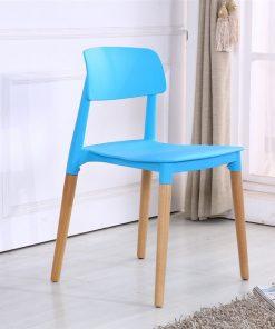 Silla CROSCAT, madera, polipropileno azul