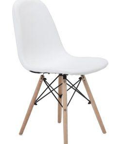Silla DELIA, madera, similpiel blanca