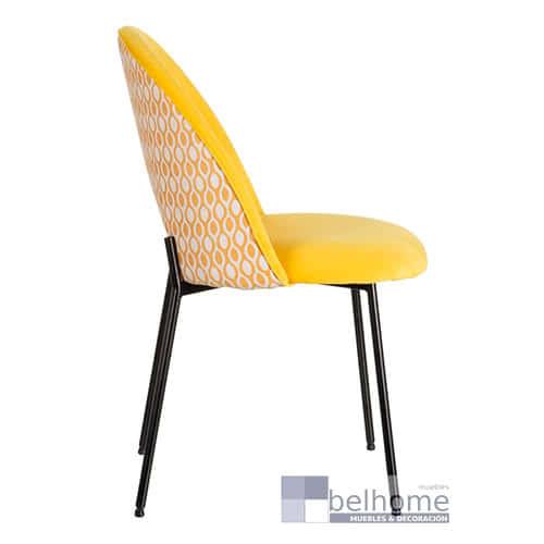 Silla amarilla tejido metal