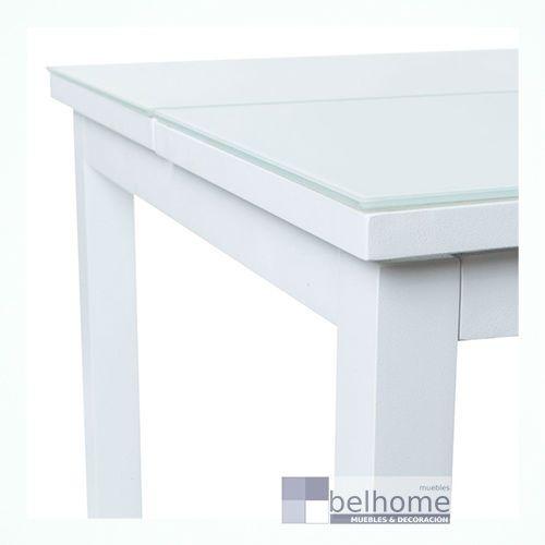 Mesa abatible Agnes aluminio blanco.