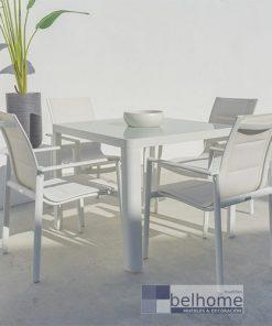 Mesa comedor Stella aluminio blanco