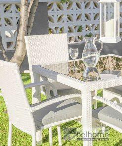 Mesa jardín ratán/cristal blanco