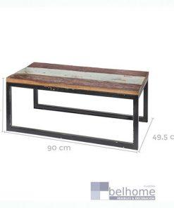 Mesa auxiliar rectangular madera-hierro