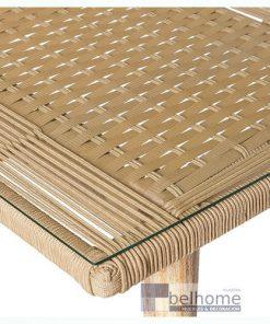 Mesa Nirit cuerda-madera beige exterior