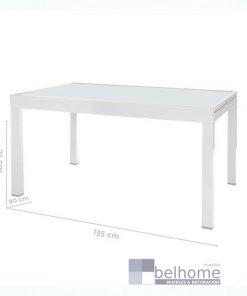 Mesa extensible Thais aluminio blanco